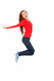 Jumping trendy teen girl Stock Images