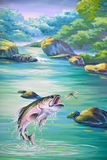 Jumping trout. Painted trout jumping for a dragonfly Royalty Free Stock Images