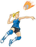 Jumping Volleyball Player Girl Vector Illustration. Girl volleyball player jumping to spike an incoming serve that looks like a fire ball. This vector clip art Stock Photo