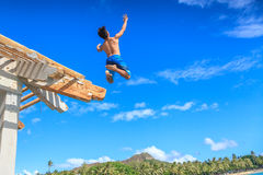 Jumping from Waikiki Pier Stock Photos