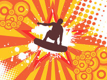 Jumping wakeboarder. Vector illustration of an abstract background with wakeboarder Stock Photo