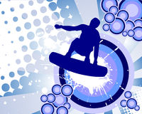 Jumping wakeboarder. Vector illustration of an abstract background with wakeboarder Stock Image