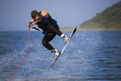 Jumping wakeboarder Royalty Free Stock Photos