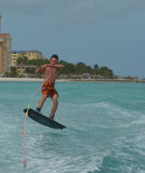 Jumping Wakeboarder in the Air Off the Coast of Palm Beach Stock Photography