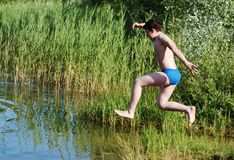 Jumping Into The Water royalty free stock image