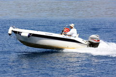 Jumping on the waves. Motor boat available a flying over the waves of the Mediterranean Stock Images