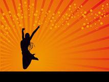 Jumping white girl vector background Royalty Free Stock Photos