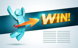 Jumping Winner Man. 3d  jumping man with arrow and Win! word. Success concept design template Royalty Free Stock Images