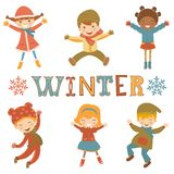 Jumping winter kids Stock Photography