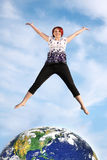 Jumping Woman Royalty Free Stock Images
