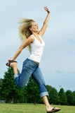 Jumping woman. Royalty Free Stock Photos