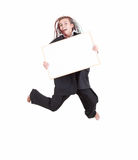 Jumping woman with african hairdo and blank sign Stock Image