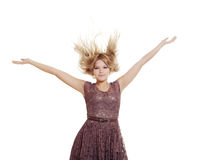 Jumping woman close up Royalty Free Stock Image