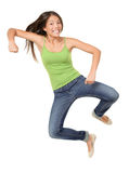 Jumping woman funny isolated Royalty Free Stock Image