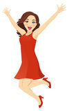 Jumping woman. Happy woman in red dress jumping isolated Stock Photo