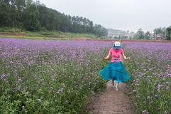 Jumping woman in lavender fields Royalty Free Stock Images