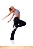 Jumping woman modern ballet dancer. Woman modern ballet dancer in ballroom stock photos