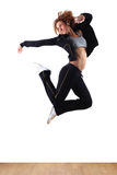 Jumping woman modern ballet dancer Royalty Free Stock Photography