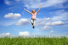 jumping woman outdoor Royalty Free Stock Photography
