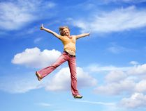 jumping woman outdoor Royalty Free Stock Images