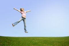 jumping woman outdoor Stock Photography