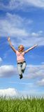 jumping woman outdoor Stock Photos