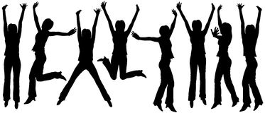 Jumping woman outlines. Set of editable vector silhouettes of jumping women Stock Photos