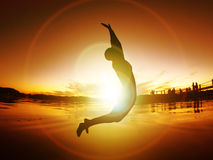 Jumping Woman Silhouette Freedom Sunset Energy Life Free Royalty Free Stock Photo