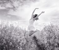 Jumping Woman in yellow field, black and white royalty free stock photos