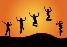 Jumping women Stock Photo