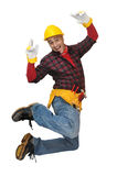 Jumping worker Stock Image