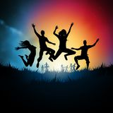 Jumping Young Adults. Friends jumping together. Vector illustration Royalty Free Stock Image