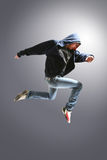 Jumping young dancer stock image