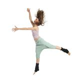 Jumping young dancer isolated on white Stock Photography