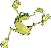 The jumping young frog. Cartoon Stock Photo