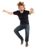 Jumping young handsome man Stock Image