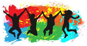 Jumping youth on colorful background. Jumps of cheerful young people, friends.  stock illustration