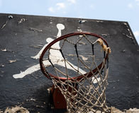 Jumpman-Logo durch Nike auf dem alten Basketballrückenbrett Lizenzfreie Stockbilder