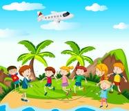 Jumprope del juego de niños en el parque stock de ilustración