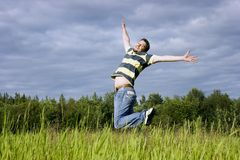 Jumps on a grass Royalty Free Stock Photo