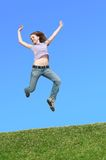 Jumps in meadow Royalty Free Stock Photos