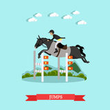 Jumps over barrier vector illustration in flat style Royalty Free Stock Photos