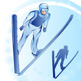 Jumps from a springboard_1. Stylized illustration of jamped skier on a blue background Stock Photos
