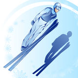 Jumps from a springboard_2. Stylized illustration of jamped skier on a blue background Stock Photo