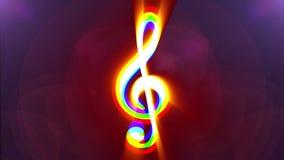 Jumpy RGB music treble clef symbol light rays display animation seamless loop background New quality universal close up. RGB simple family symbol glitch screen stock video