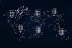 jumpying在世界的地图的办公室之间的商人 库存图片