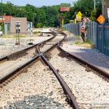 Junção da trilha de estrada de ferro e curvas e interruptores Fotografia de Stock Royalty Free