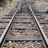 Junção das trilhas de estrada de ferro da montanha Fotos de Stock Royalty Free