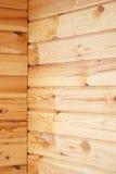Junção de canto das paredes da madeira Fotografia de Stock