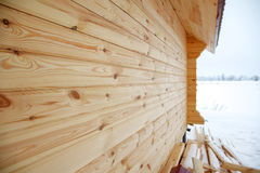 Junção de canto das paredes da madeira Imagens de Stock Royalty Free